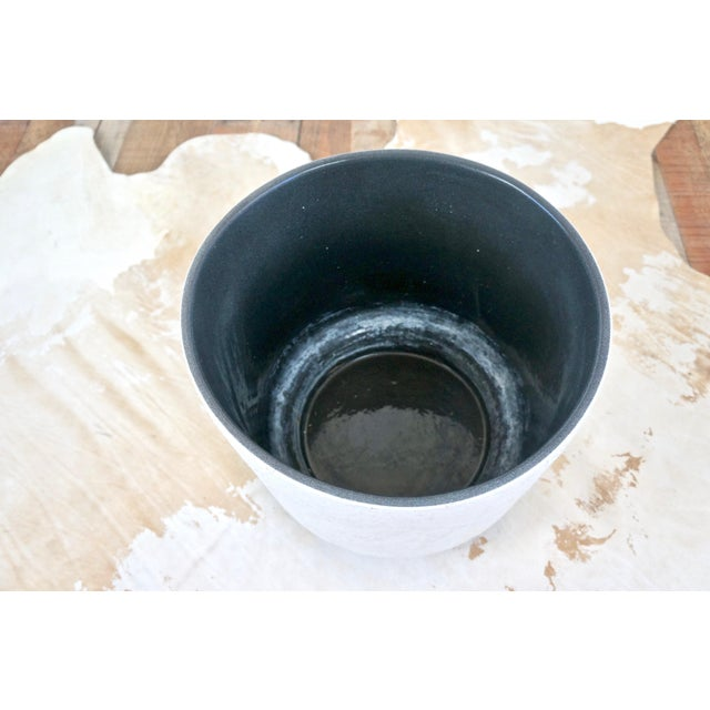 Ceramic Vintage Mid-Century White Ceramic Textured Glaze Planter For Sale - Image 7 of 8