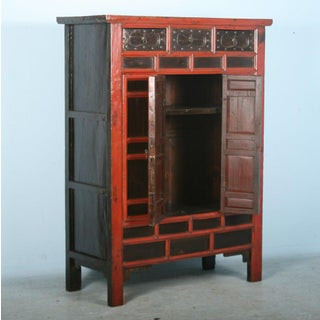 Antique 18th Century Heavily Paneled Chinese Red Lacquered Cabinet Preview