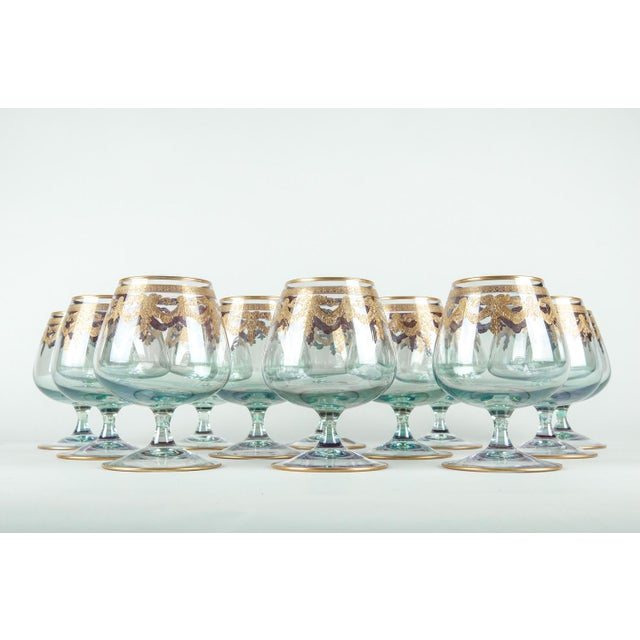 Vintage Murano crystal brandy / snifter glassware set of 12 pieces. Each brandy glass is in excellent condition. Each...