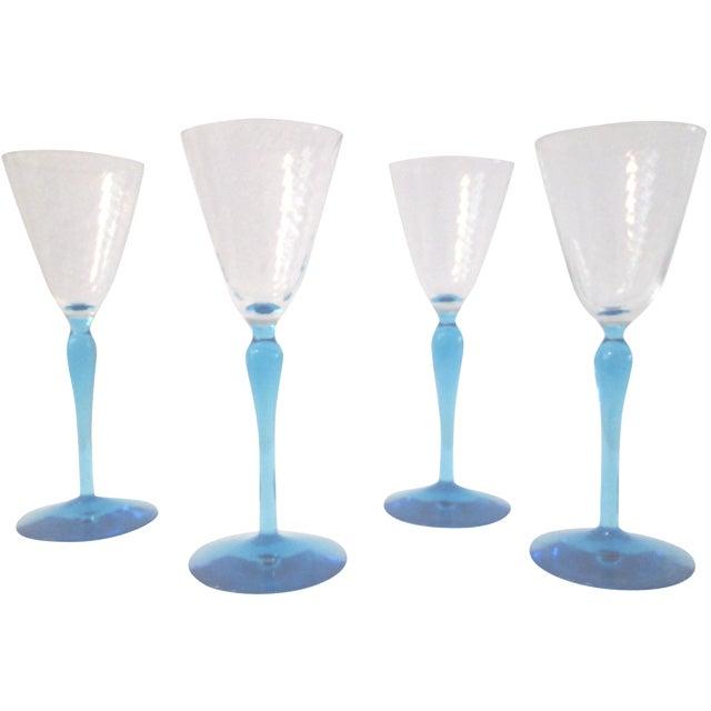 Sea Blue Stemmed Port Wine Glasses - Set of 4 - Image 1 of 5