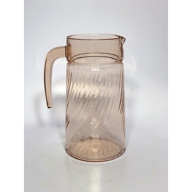 1950s Blush Pink Depression Glass Pitcher For Sale - Image 4 of 5