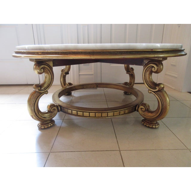 Italian Gold & Marble Coffee Table - Image 3 of 11
