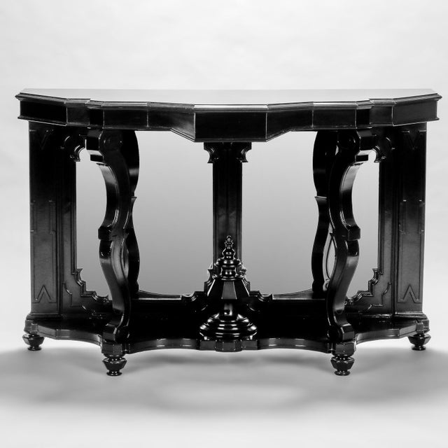 Italian Ebonised Mahogany Console with Mirrored Back For Sale - Image 10 of 10