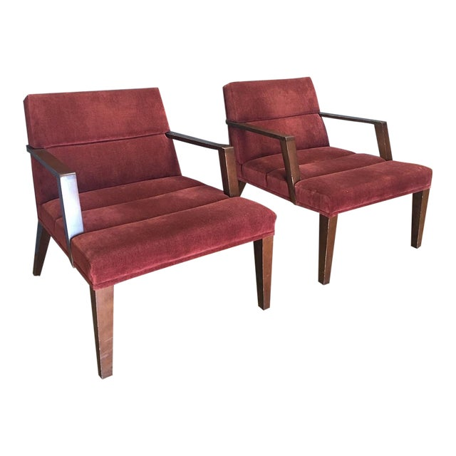 Bright Elana Burgundy Lounge Armchairs - A Pair - Image 1 of 11