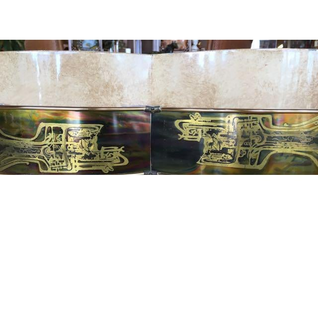 Brass 1970s Mid-Century Modern Mastercraft Bernard Rohe Decorated Drum Table For Sale - Image 7 of 13