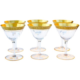 Gold-Banded Midcentury Glasses- S/6 For Sale