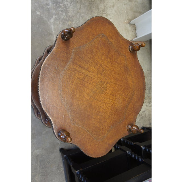 Wood Vintage Theodore Alexander 3 Tier Leather Turtle Top & Nailhead Accent Side Tables - a Pair For Sale - Image 7 of 11