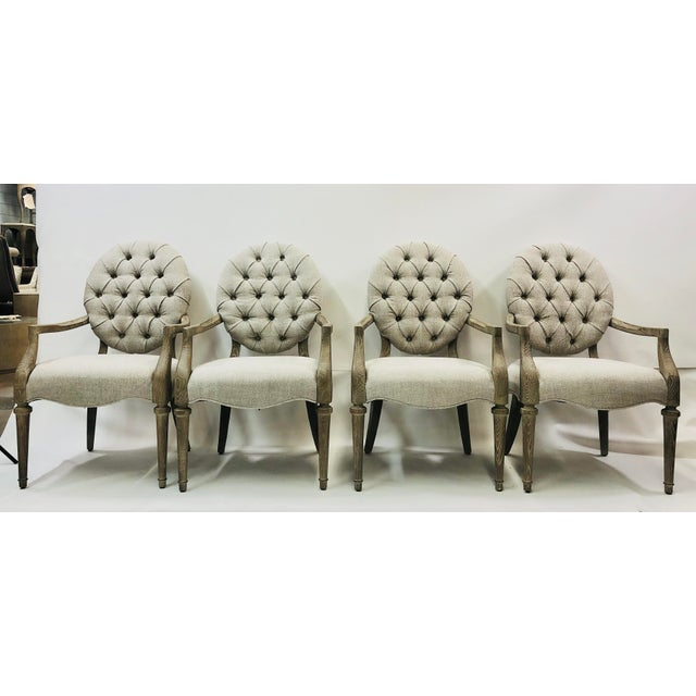 Brand new tufted armchair. We have 12 of these, so you can order what you need. They work great as dining chairs but...