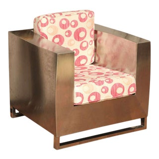Jonathan Singleton Stainless Steel Cube Lounge Chair For Sale