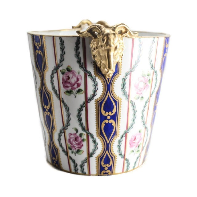 French 19th Century Sevres Porcelain Hand Painted Jardiniere Cache Pot For Sale - Image 3 of 4