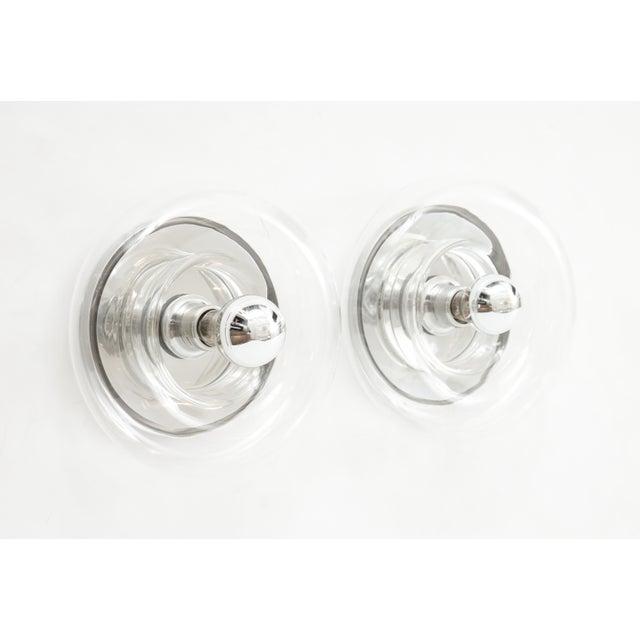 Transparent Minimalist Glass Donut Sconces / Flush Mounts by Doria - a Pair For Sale - Image 8 of 8