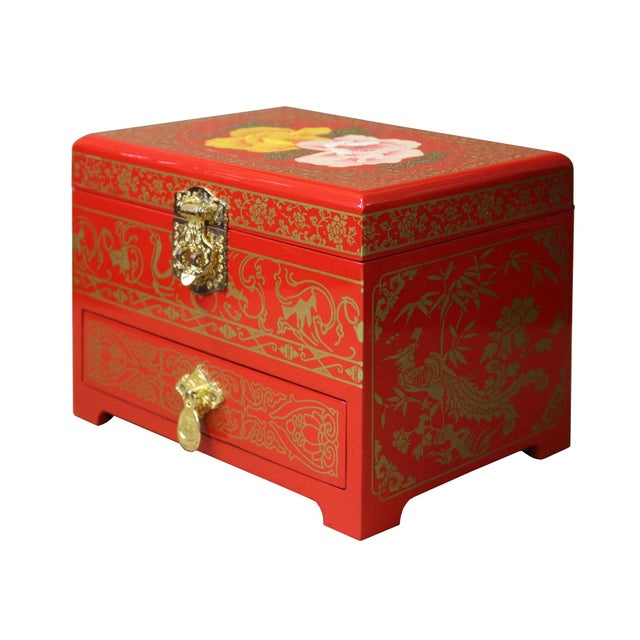 Chinese Oriental Lacquer Mirror Jewelry Chest Box For Sale - Image 5 of 7