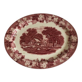 """English Meat Earthenware Platter by Woods Ware England """"English Scenery"""" For Sale"""