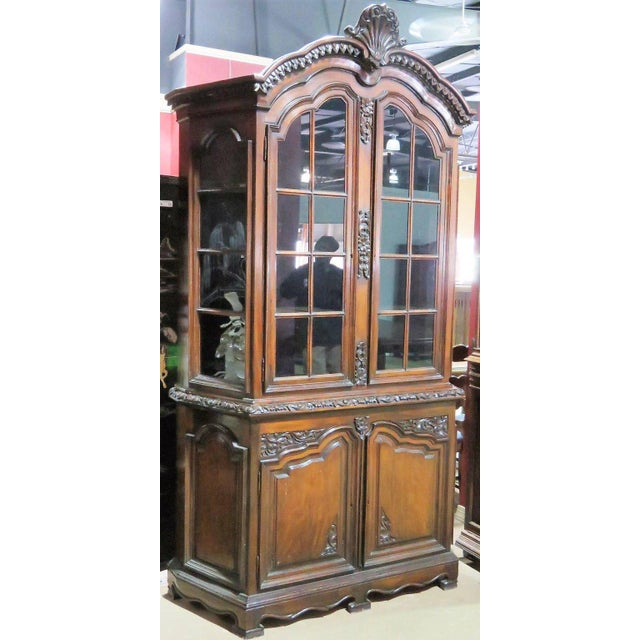 19th Century Carved Georgian Style Two Piece China Closet For Sale - Image 4 of 9