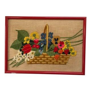 Vintage Flower Basket Crewel Embroidery Art For Sale