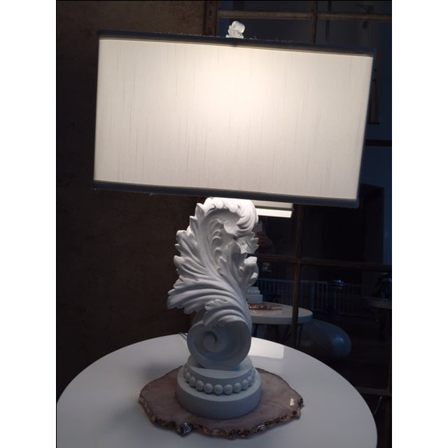 White Lacquer Brocade Table Lamp - Image 4 of 4