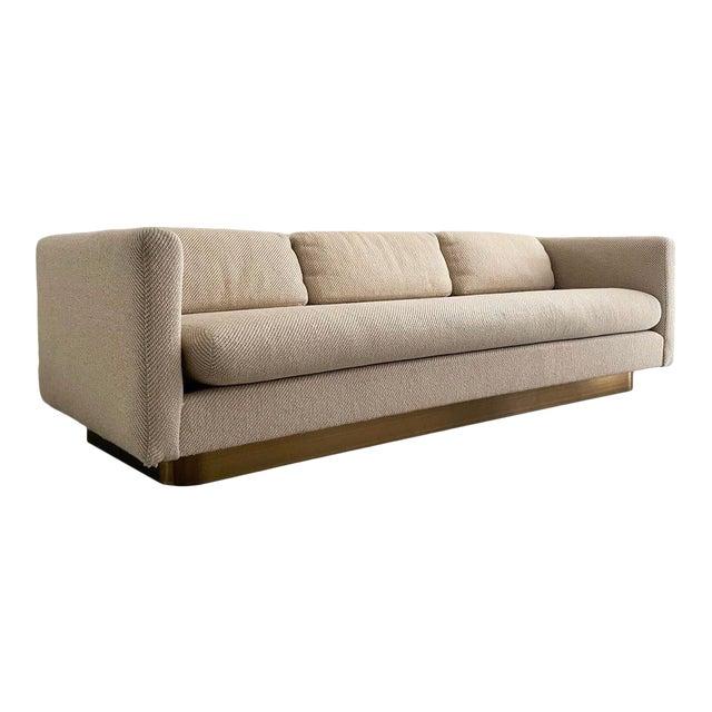 "Mid Century Modern Brass Floating ""Tuxedo"" Sofa Designed by Milo Baughman For Sale"