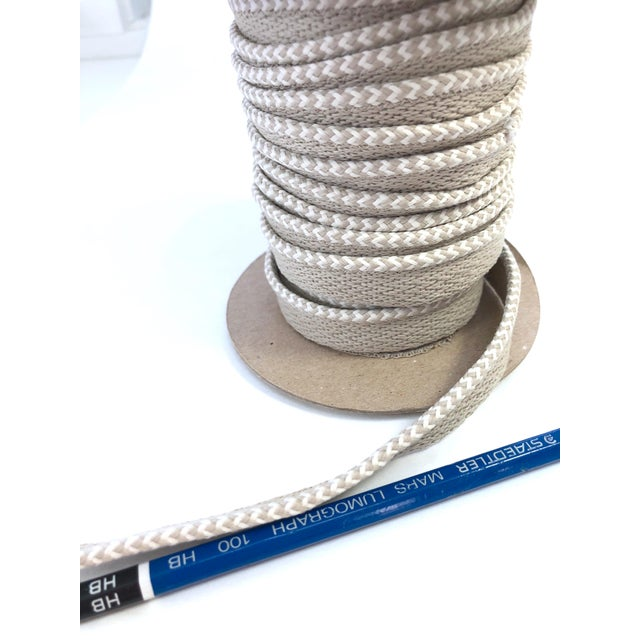 """Braided 1/8"""" Indoor-Outdoor Cord in White & Cream For Sale - Image 4 of 7"""
