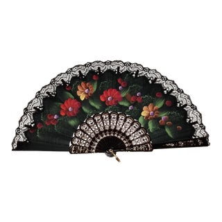 Vintage Lace Black Hand Fan For Sale