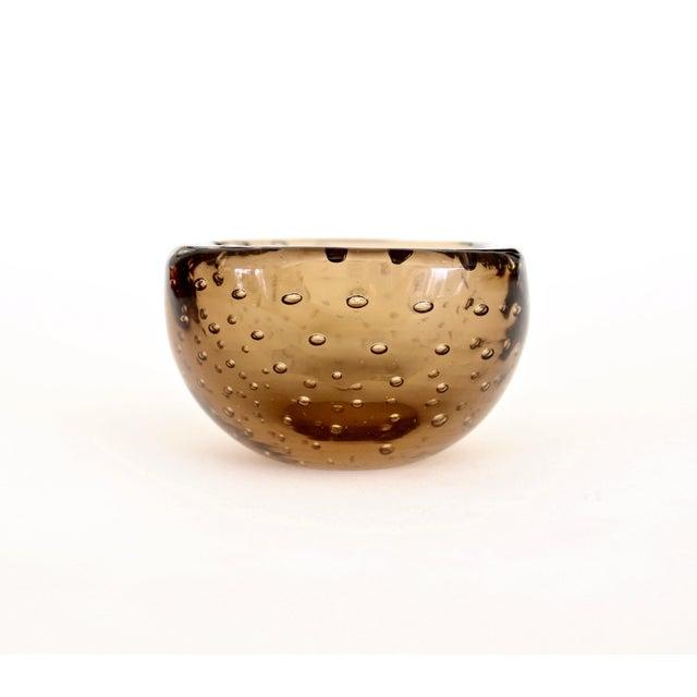 1950s 1950s Carlo Scarpa for Venini Murano Bulicante Small Bowl Amber Glass For Sale - Image 5 of 10