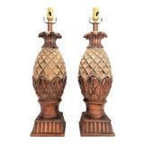 Image of Extra-Large Vintage Pineapple Lamps - a Pair - Mid Century Modern Palm Beach Boho Chic Contemporary Designer Coastal Tropical For Sale