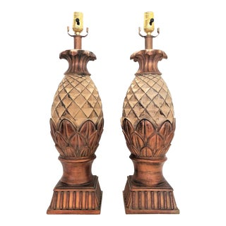 Extra-Large Vintage Pineapple Lamps - a Pair - Mid Century Modern Palm Beach Boho Chic Contemporary Designer Coastal Tropical For Sale