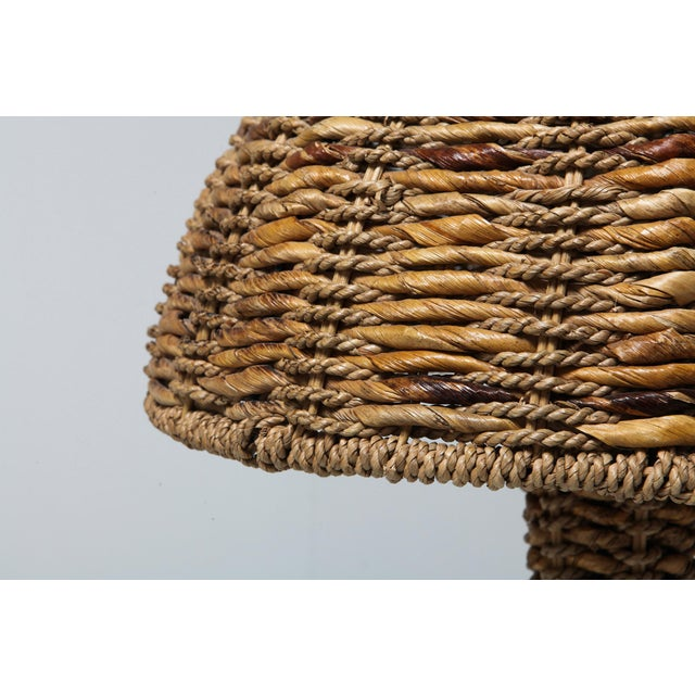 Rattan Gabriella Crespi Style Floor Lamp in True Tropicalist Style For Sale - Image 7 of 9