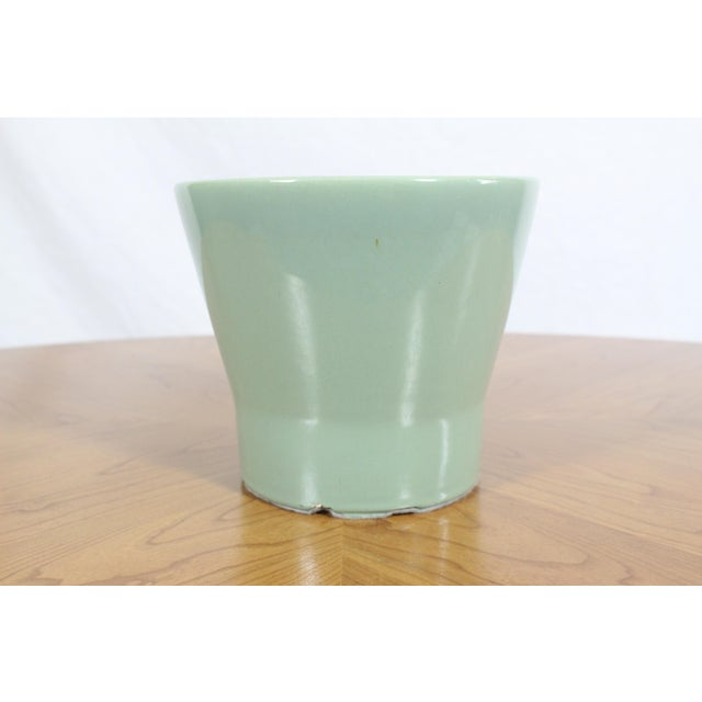 """Gainey Pottery 1950's Gainey Seafoam Green Conical La Verne California 7.5"""" Planter For Sale - Image 4 of 8"""