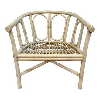 Vintage Mid Century Bentwood and Rattan Bamboo Regency Armchair For Sale
