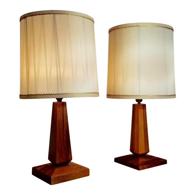Mid-Century Teak Table Lamps With Original Shades - a Pair For Sale