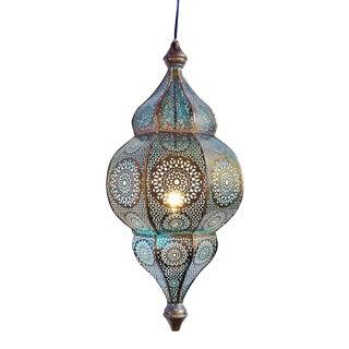 Moorish Brass Blue Lantern For Sale