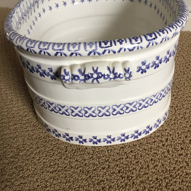 Asian Vintage Blue and White Oversized Hand-Painted Vessel For Sale - Image 3 of 11