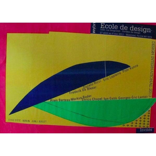 2013 Original Ecole De Design - Design International Poster (Blue, Green, Yellow) - Alfred Halasa For Sale