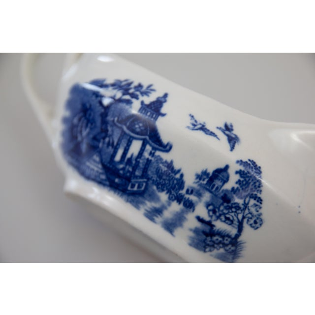 Early 20th Century Antique English Blue & White Sauce Pitcher For Sale - Image 5 of 8