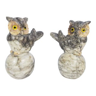 Vintage Handcarved Alabaster Marble Owl Bookends - A Pair