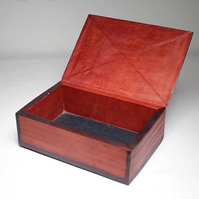 Vintage Embossed Leather Wrapped Wooden Box c. 1960-1980. - Image 3 of 4
