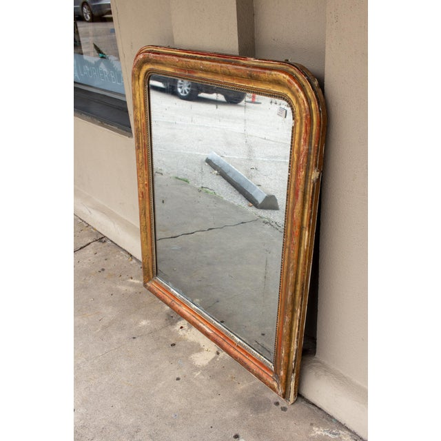 Louis Philippe Antique French Gilt Louis Philippe Mirror With Floral Decoration For Sale - Image 4 of 13