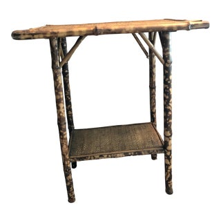 19th Century Chinoiserie Bamboo and Cane Tortoise Side Table For Sale