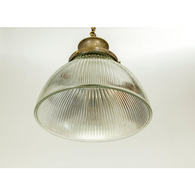 Industrial Large Holophane Glass & Brass Pendants - a Pair For Sale - Image 3 of 13