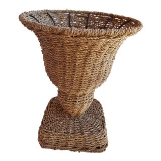 Footed Seagrass Wicker Urn or Cachepot