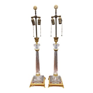 Early 20th Century Crystal & Bronze Lamps by Baldi - a Pair For Sale