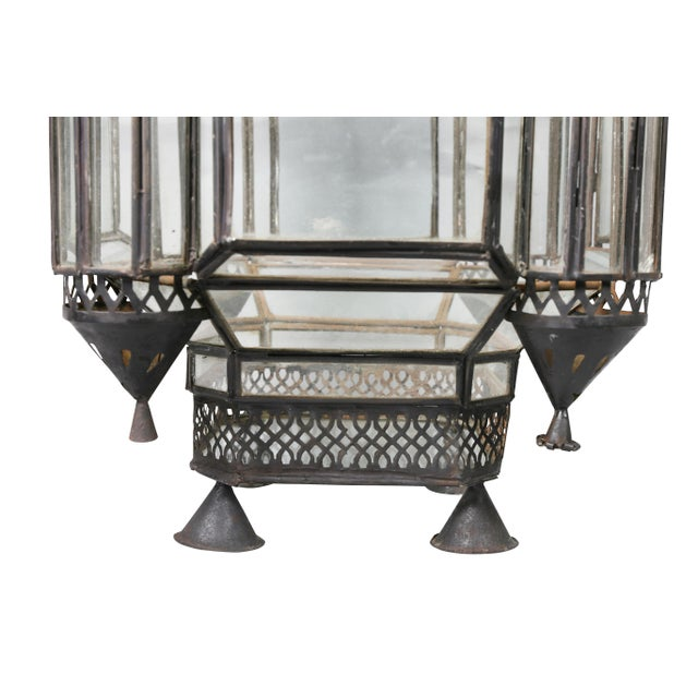 Moroccan Black Painted Tole Hall Lantern For Sale - Image 9 of 11