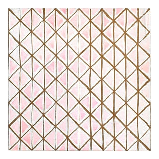 Contemporary Geometric Painting in Pink Watercolor and Gold Gilt For Sale