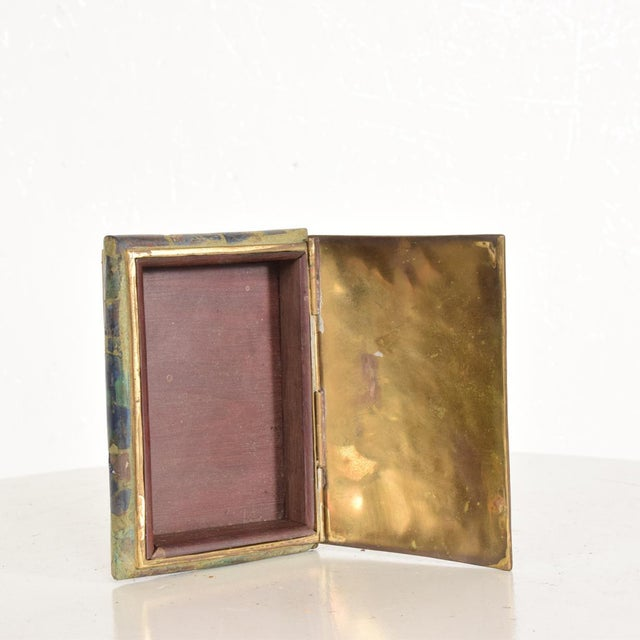 1960s Mid-Century Mexican Modernist Malachite & Brass Small Trinket Box For Sale - Image 5 of 9