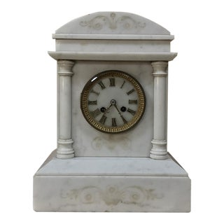 19th Century Antique Carrara Marble Mantel Clock For Sale