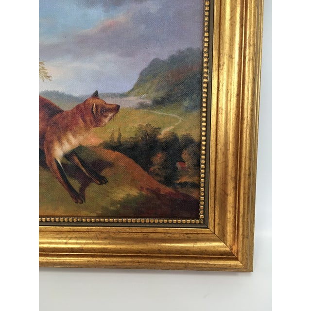 English Framed Fox In Landscape Painting For Sale - Image 3 of 4