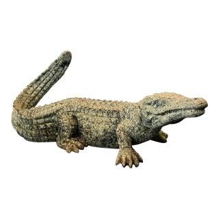 Large Cast Metal Alligator Garden Statue For Sale