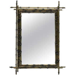 Gilt Metal Faux Bamboo Mirror For Sale