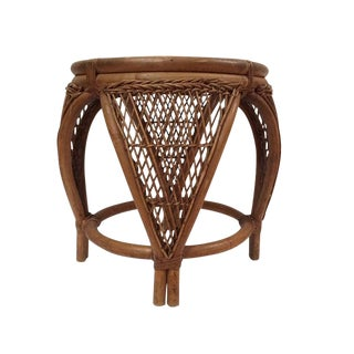 1960s Vintage Rattan & Bent Bamboo Stool For Sale