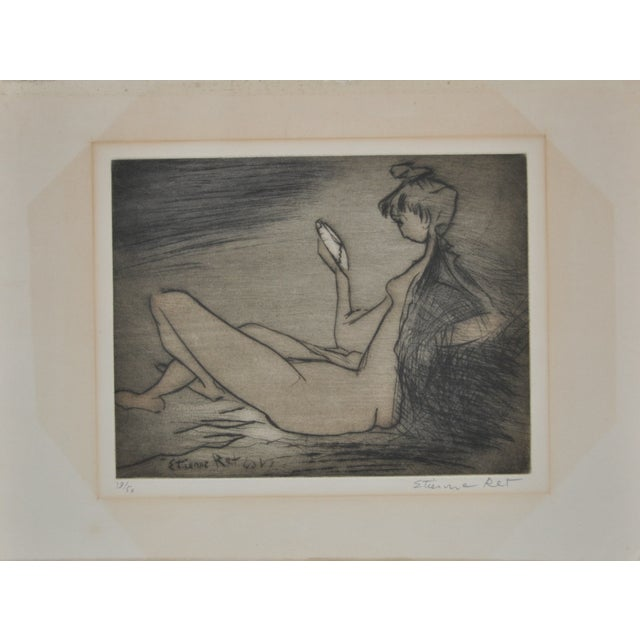 Vintage 70's Etching by French Artist Etienne Ret For Sale
